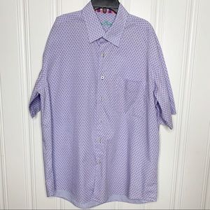 Alan Flusser Blue Gingham Button Front Shirt Sz L